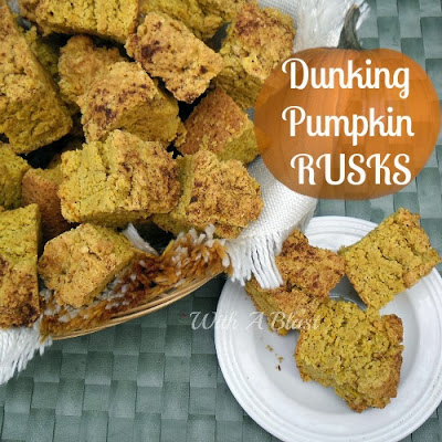 Dunking Pumpkin Rusks ~ Dunk them into your coffee or tea for breakfast or tea-time and enjoy Fall's best flavor #Rusks #PumpkinRecipe #Biscuits