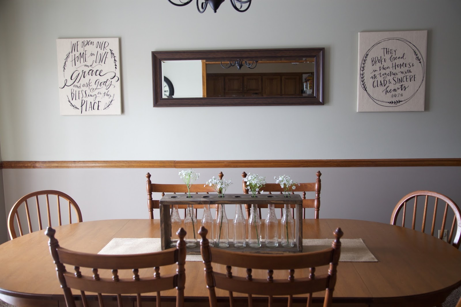 100 dining rooms with chair rail not so newlywed mcgees for Dining room utensils