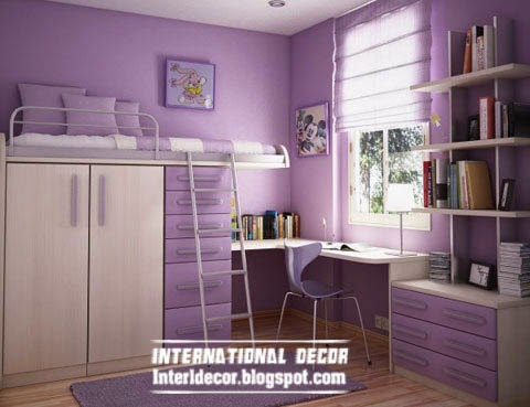 purple childrens bedroom interior design, purple kids bedroom furniture