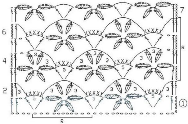 Схемы крючком узоры цветочные