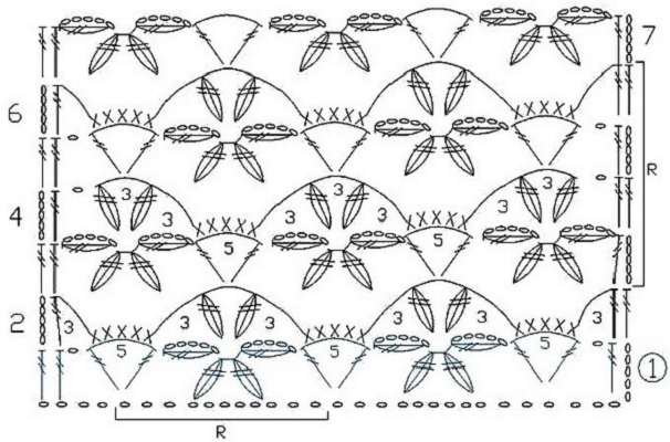 Схема цветочного узора крючком