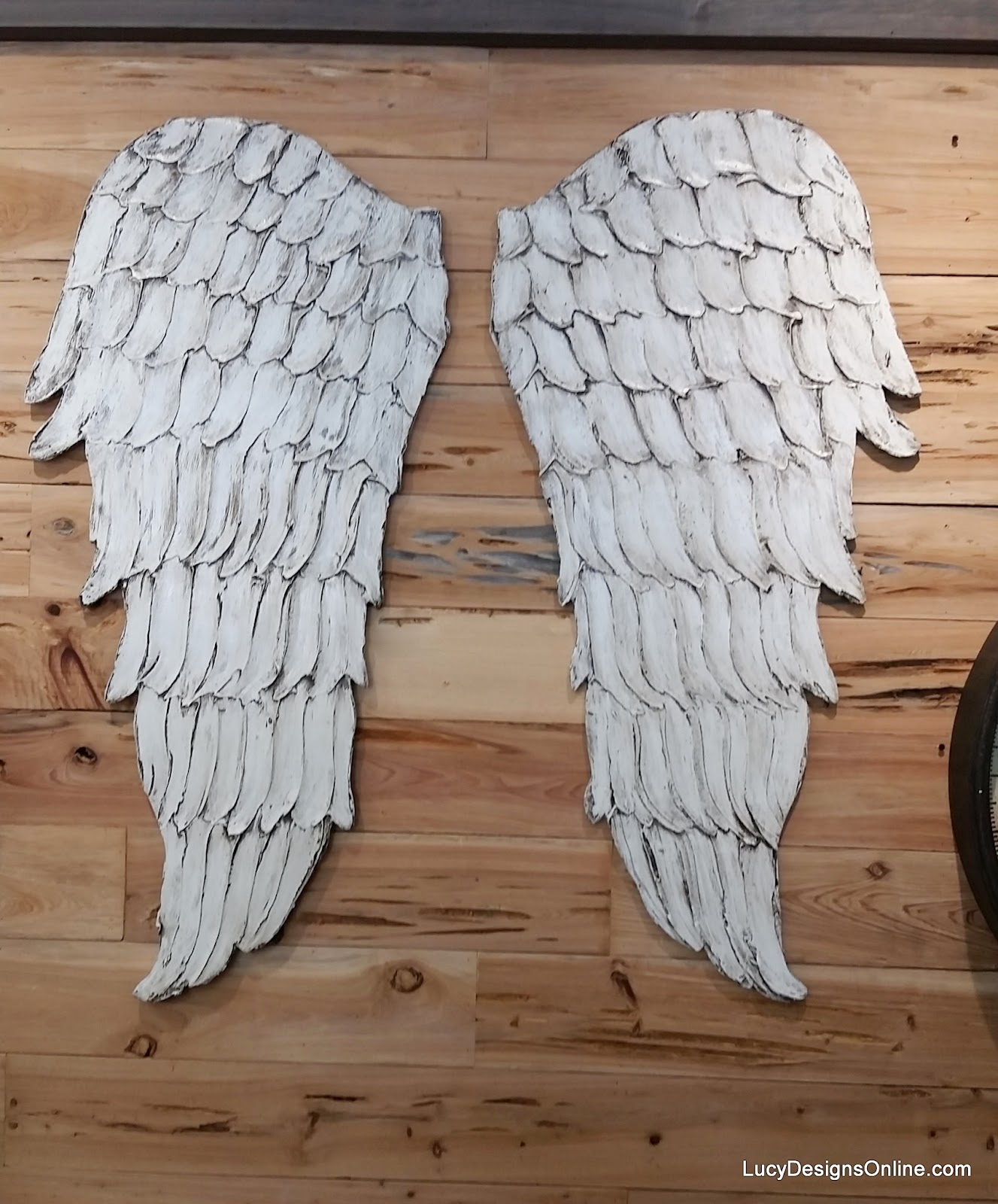 large textured angel wings wall art