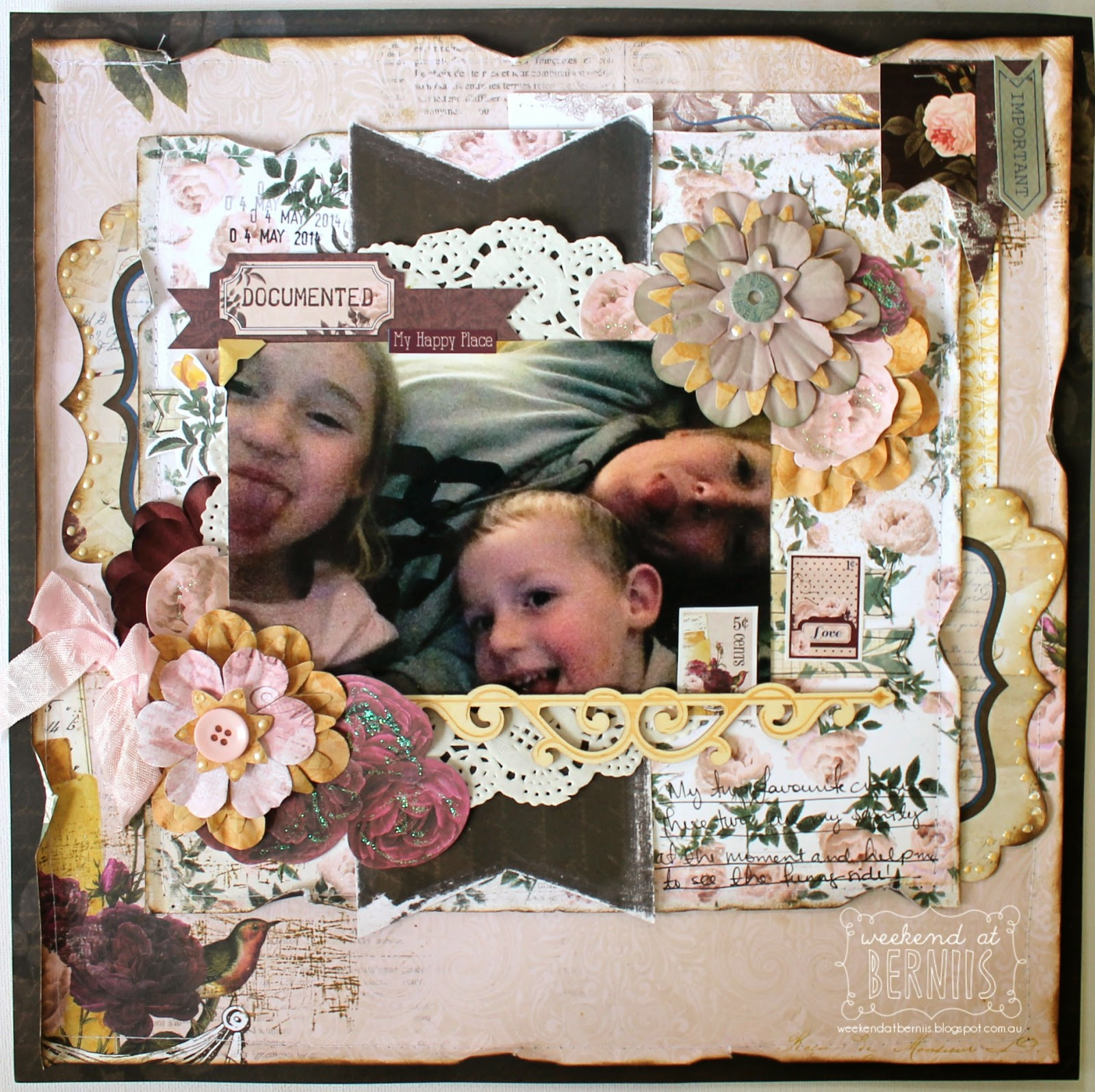 Documented layout by Bernii Miller using BoBunny Rose Cafe collection.