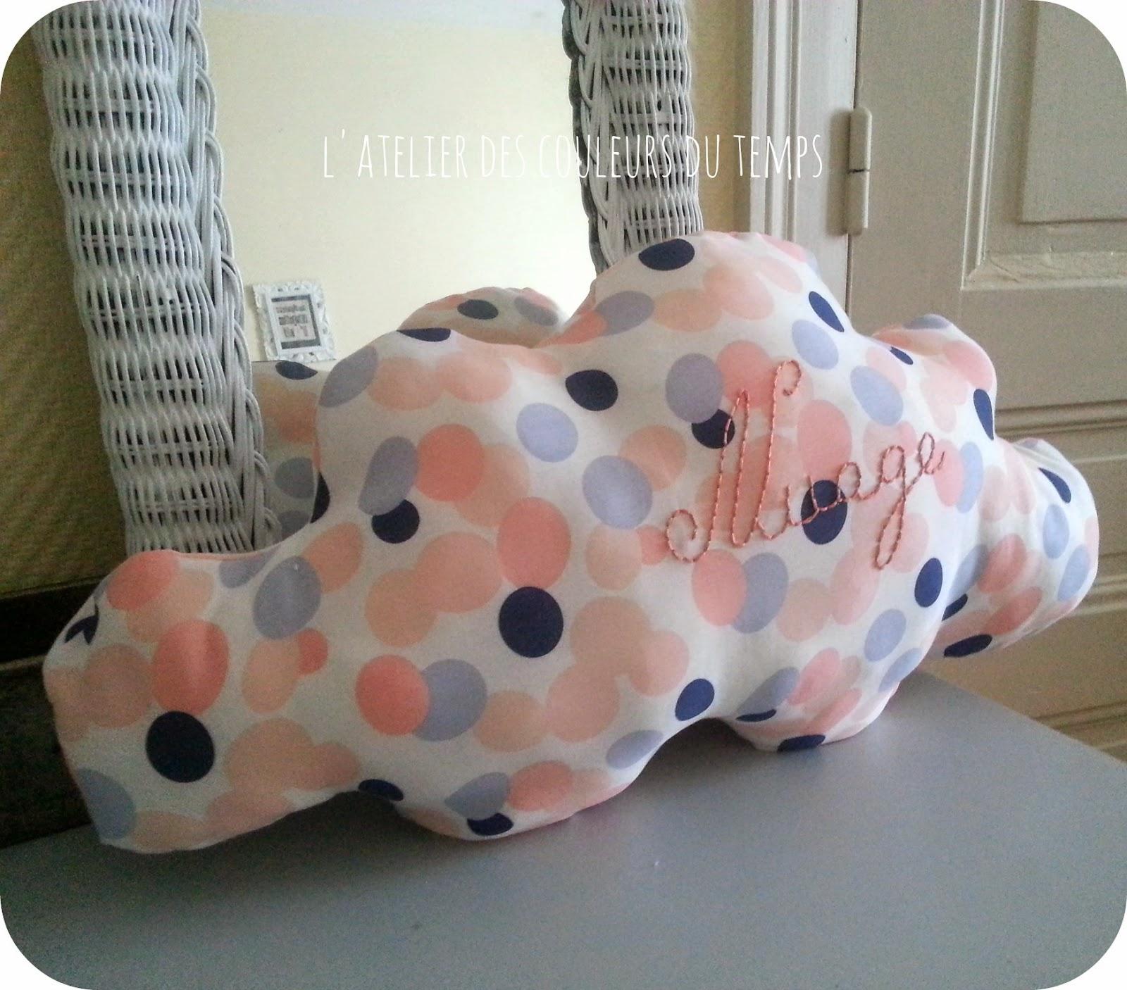 L 39 atelier des couleurs du temps coussin forme nuage en coton blanc pois rose saumon et bleu - Coussin en forme de nuage ...