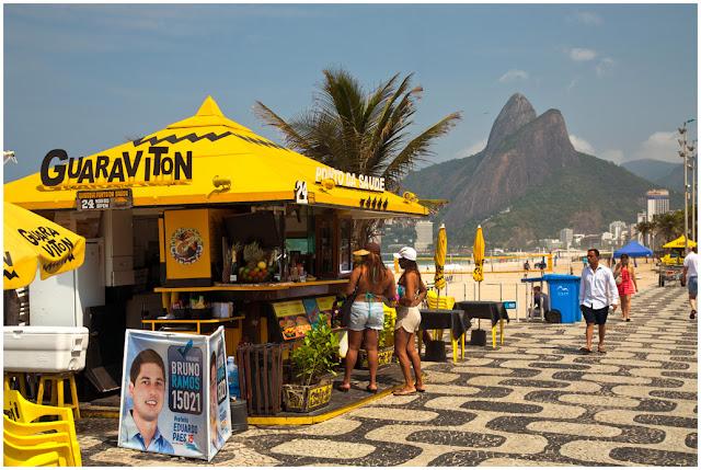 A photograph of Ipanema beach in Rio de Janeiro in Brazil