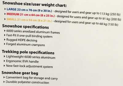 Yukon Charlie Snowshoe Kit specifications