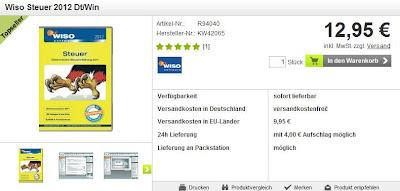 Buhl WISO Steuer 2012 (Win) (DE) bei voelkner für 12,95 Euro inklusive Versandkosten