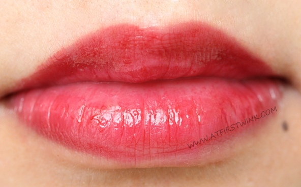 eSpoir no wear sheer lipstick RD202 - Love Edition on lips