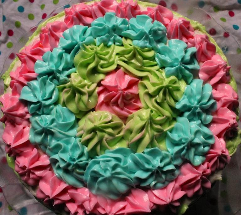 rainbow layer cake recipe / 6 layer - rainbow birthday cake - maha's 1st birthday cake