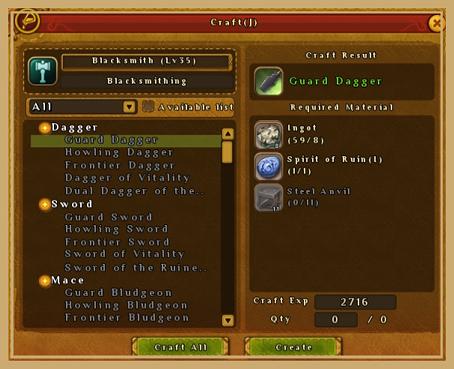 Ragnarok Online 2 Crafting