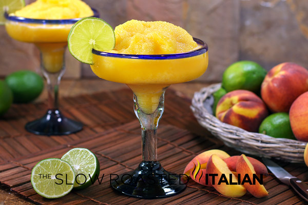 Perfectly Peach Frozen Margarita #cocktail #recipe #peach