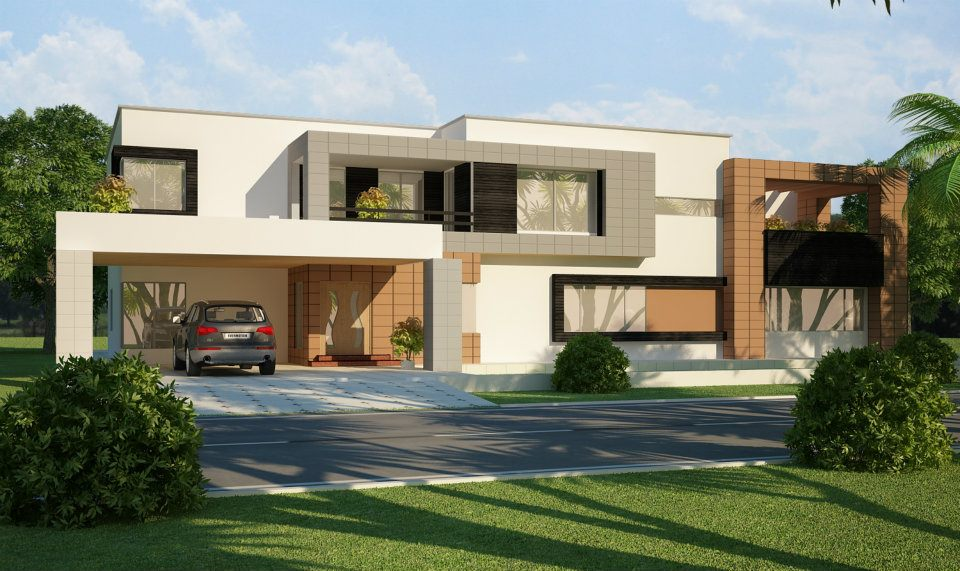 3d front 1 kanal 2 kanal house in lahore for Pakistani new home designs exterior views