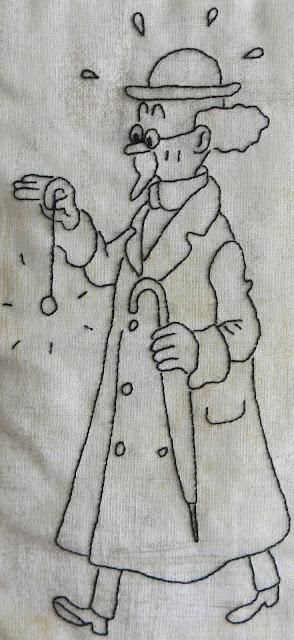 """Hand embroidery quilt - Tintin comics - """"Un peu plus à l'Ouest"""""""