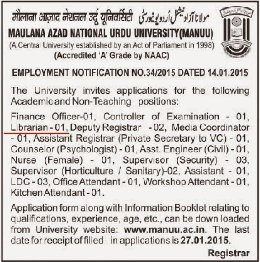 Library Soup: Librarian Vacancy at Maulana Azad National Urdu ...