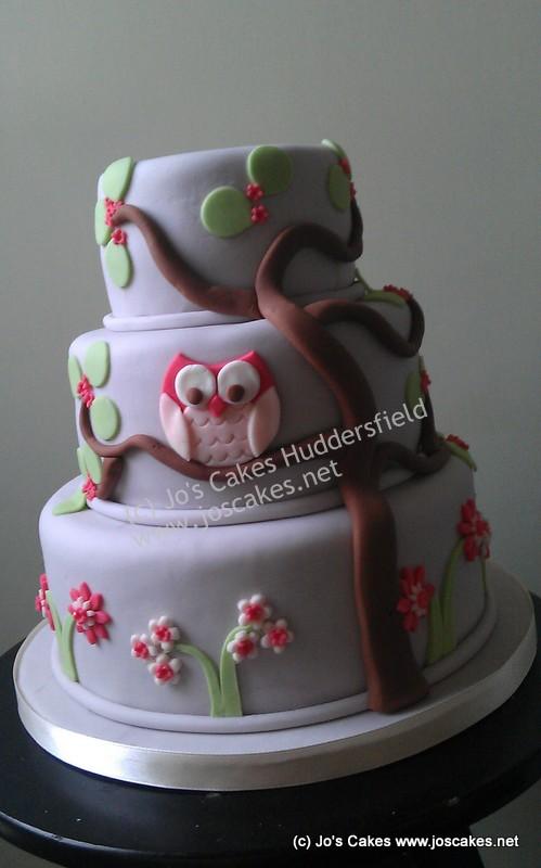Jos Cakes Three Tier Owl Birthday Cake