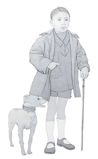 niño, burgues, perro, dibujo