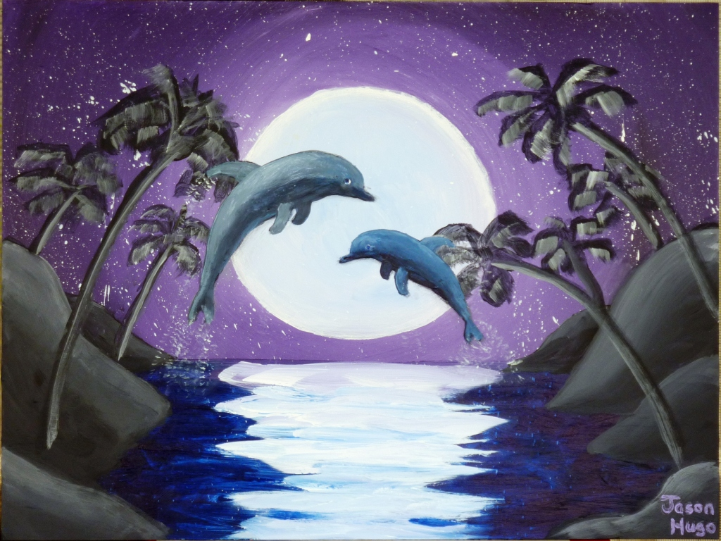 Dolphins Jumping Before The Moon 12x16x1 8