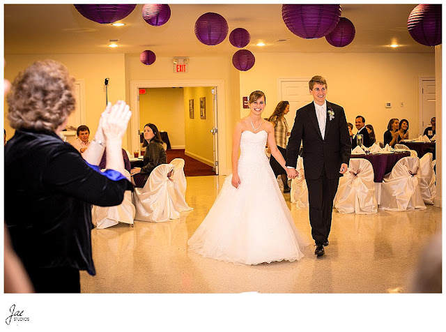 Fall church wedding in November with Purple Accents