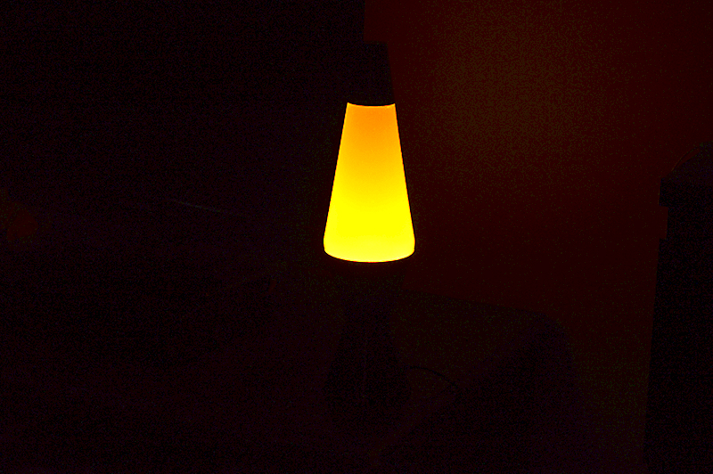 lava lamp in the darkness