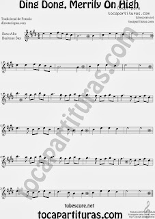 Partitura de Ding Dong, Merrily On High para Saxofón Alto y Sax Barítono by George Ratcliffe Woodward Sheet Music for Alto and Baritone Saxophone Music Scores