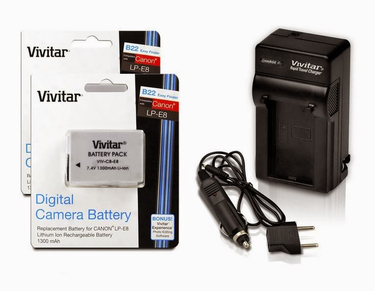 Backup Battery Kit: Vivitar Ultra High Capacity Rechargeable 1300mAh Li-ion Batteries + AC/DC Vivitar Rapid Travel Charger