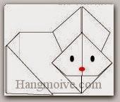 Bước 15: Vẽ mắt, mũi để hoàn thành cách xếp con thỏ kute bằng giấy theo phong cách origami.