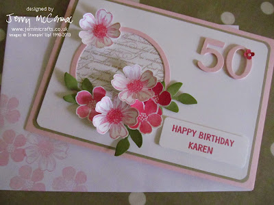 50th birthday card using Secret Garden and Flower Shop SU