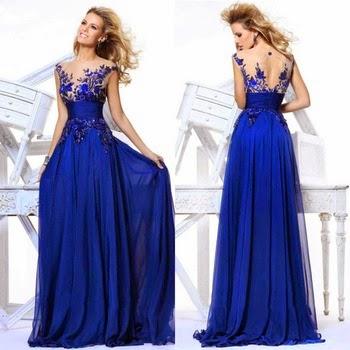 Vestido de Noche de Gala Azul Real