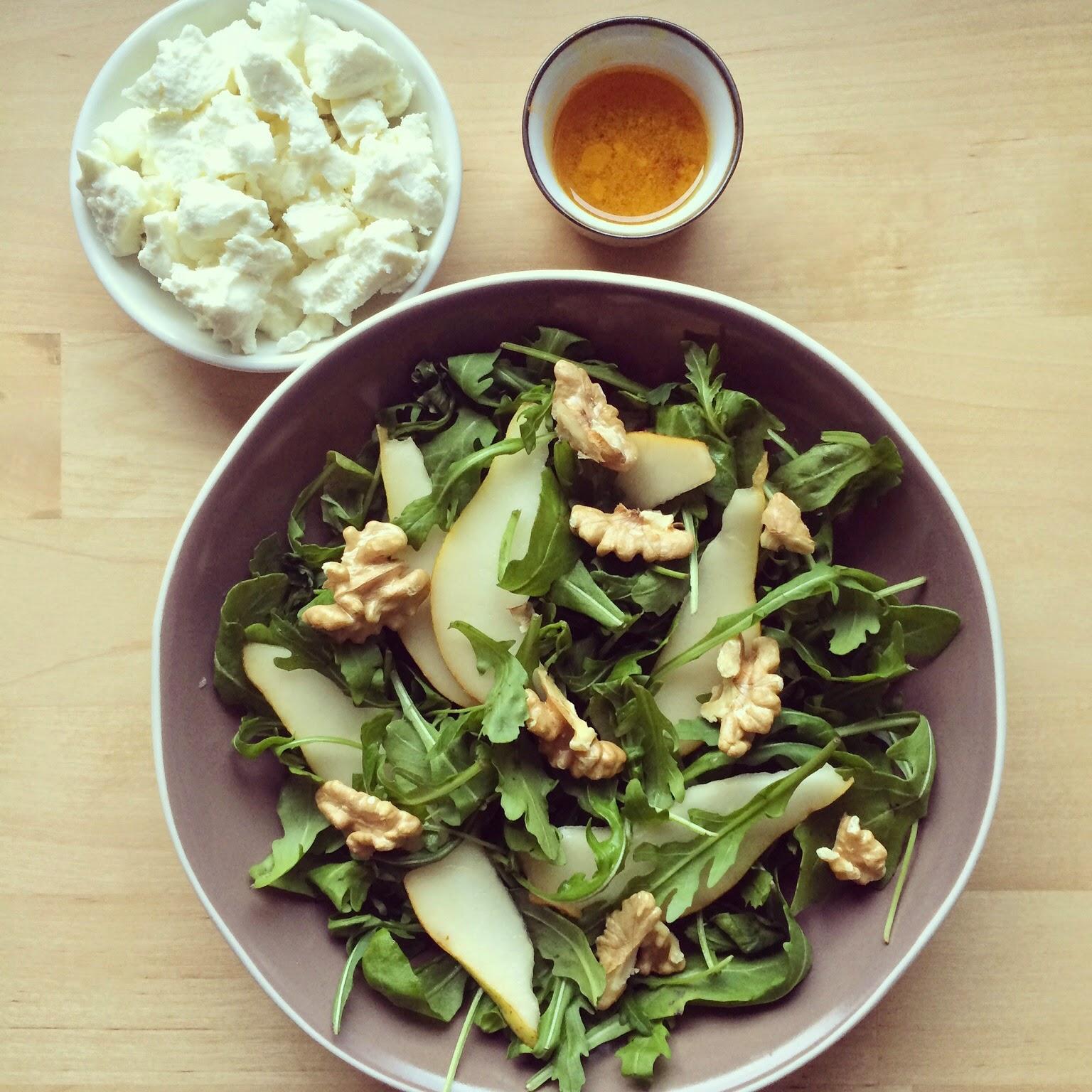 salade roquette poires chèvre noix