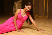 Kaveri new actress in a Pink Deep Neck Sleevelss Gown from movie Andala Chandamama
