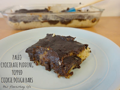 Paleo Chocolate Pudding Topped Cookie Dough Bars Recipe