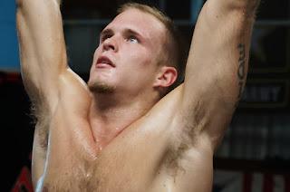 Sweaty blonde gymnast jock pits