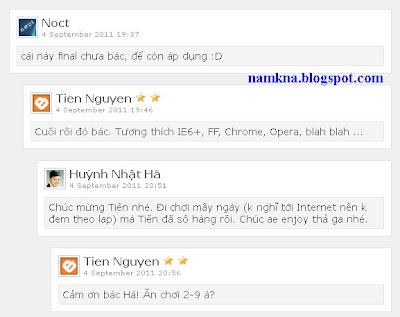 Chèn comment phân cấp vào Blogspot của bạn vers 1 - by: http://namkna.blogspot.com/