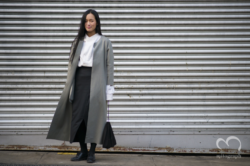 Fashion Designer Maria Nguyen wears her own brand Outer at New York Fashion Week 2014