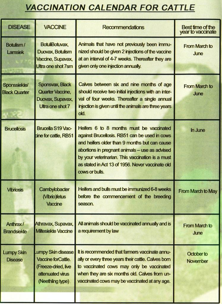 Agri Alert Namibia  Cattle Vaccination Calendar