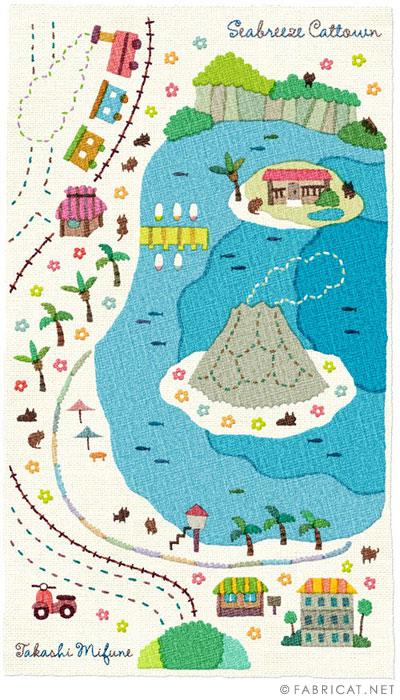 可愛いイラスト地図 潮風番地 猫のイラスト