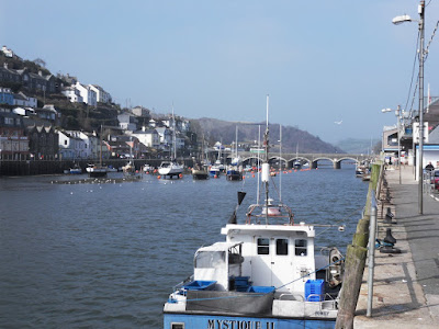 Looe river Cornwall showing bridge