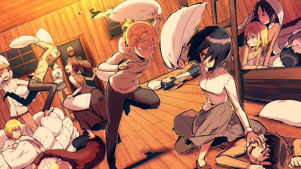 attack on titan funny picture pillow fight hd wallpaper 98