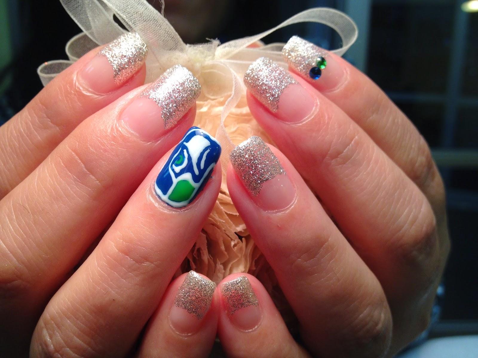 Y\'s nail blog : Seahawks nail designs!
