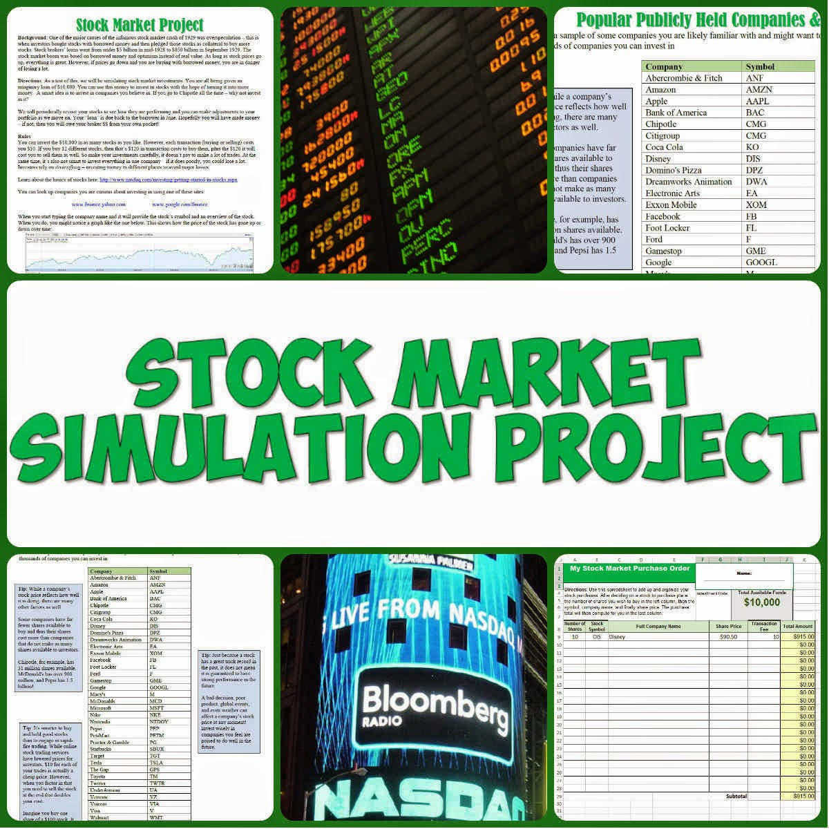 Students of history stock market simulation project lesson plan its great for an economics class or when you cover the stock market crash of 1929 and the great depression in us history i use it in the middle of the biocorpaavc Gallery
