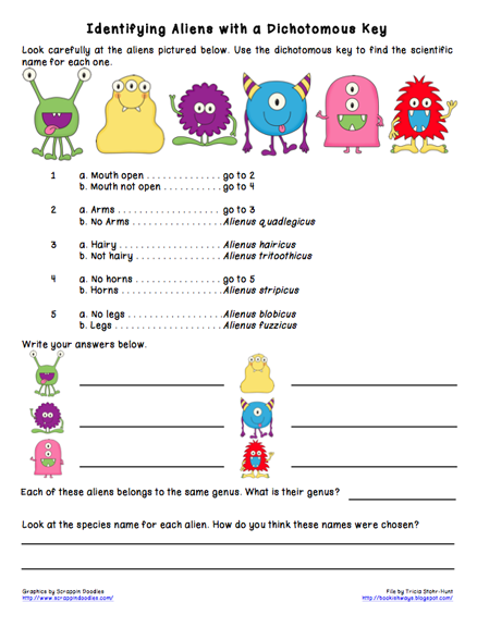 Bookish ways in math and science monday science freebie for Dichotomous key template