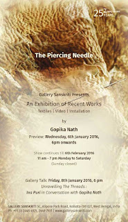 Art News, 'The Piercing needle' by Gopika Nath at  Gallery Sanskriti, Kolkata, Art Scene India Recommends