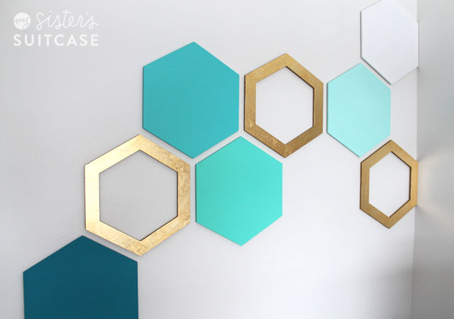 Easy hexagon wall treatment my sister 39 s suitcase for Geometric wall art diy