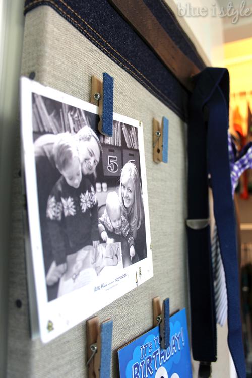 Denim clothes pin bulletin board for boy's room