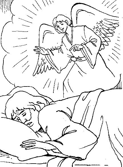 El angel le habla a jos para colorear dibujos for Angel visits joseph coloring page