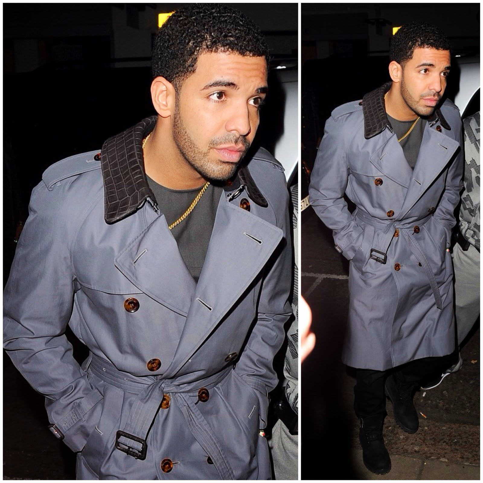 Drake in Burberry London trench coat with alligator collar - London Street Style