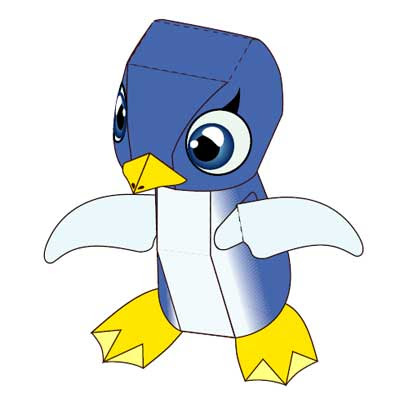 blue penguin paper toy