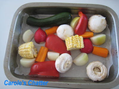 Medley of roast vegetables before going in to the oven: Carole's Chatter