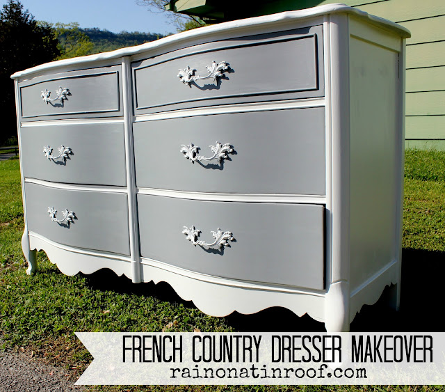 French Country Dresser Makeover with Homemade Chalk Paint  {rainonatinroof.com} #frenchcountry #french #DIY #chalkpaint #makeover #painting #furniture