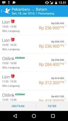 Tampilan Pilihan maskapai pada Aplikasi Traveloka
